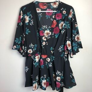 Shein Size 2X Short Sleeve Floral Print Blouse
